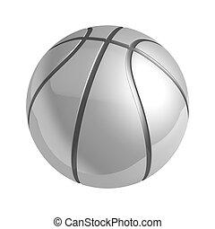 prata, brilhante, basquetebol, com, reflexão