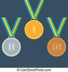 prata, bronze, medalhas, ouro