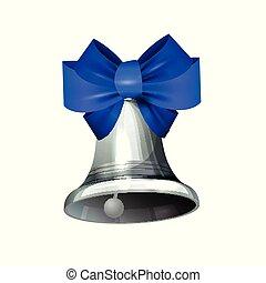 prata, casório, vetorial, azul, sino, fita
