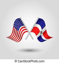 prata, estados, símbolo, dominicano, bandeiras, -, cruzado, república, unidas, americano, vetorial, varas, américa, dois
