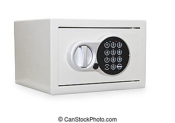 prata, metal, caixa segura, isolado, sobre, branca
