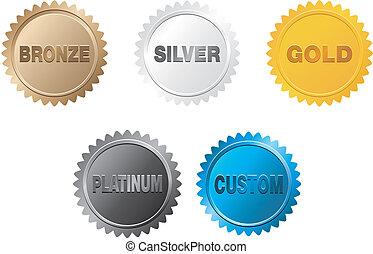 prata, ouro, emblema, bronze