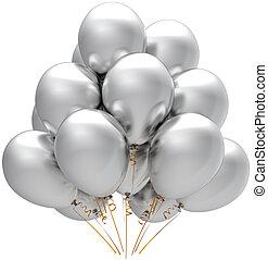 prata, partido, balões, decoração