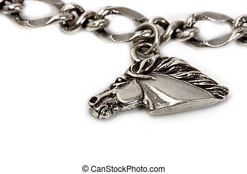 prata, pendentes, ligado, a, correntes