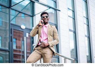 prata, smart, affärsverksamhet telefonera, positiv