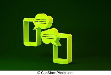 prata, sms, grön, concept., underrättelse, minimalism, bakgrund., smartphone, render, isolerat, pratstund, bubbles., anförande, ikon, illustration, färsk, 3, gul, ringa, meddelanden