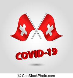 prata, título, texto, covid-19, vermelho, bandeiras, jogo, suíça, suíço, dois, 3d, waving, ícone, -, cruzado, vetorial, coronavirus, polaco