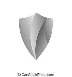 prata, vetorial, elemento, escudo, logotipo, proteção, desenho