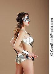 prata, vogue., aço, traje, cyber, máscara, mulher