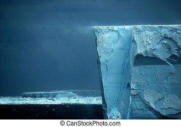 prateleira, borda, tração, neve, gelo