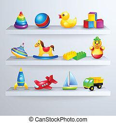 prateleira, brinquedos, ícones