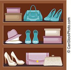 prateleira, com, sacolas, e, shoes.