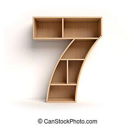 prateleira, fonte, 3d, fazendo, numere 7