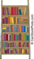 prateleira livro, corte arte, caricatura, ilustração