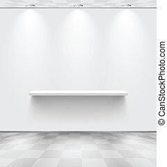 prateleira, quarto branco