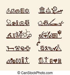 prateleiras, com, ícones médicos, para, seu, desenho