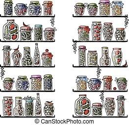 prateleiras, com, pickle, jarros, para, seu, desenho