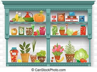 prateleiras, com, produto fresco, e, erva, plantado, em,...