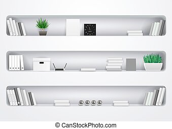 prateleiras, escritório, gabinete