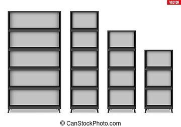 prateleiras, estante, prateleira, vazio, ou