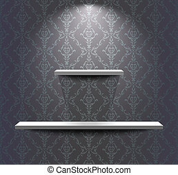 prateleiras, sala, cinzento