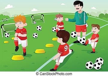 pratica, calcio, bambini