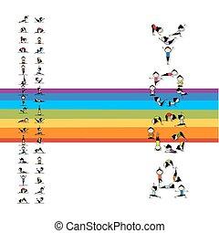 pratica, disegno, concetto, yoga, tuo