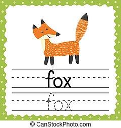 pratica, english., fox., parole, phonetic, tracciato, flashcard, scrittura, -
