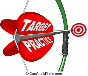 pratica obiettivo, parole, arco freccia, prontezza, apparecchiato