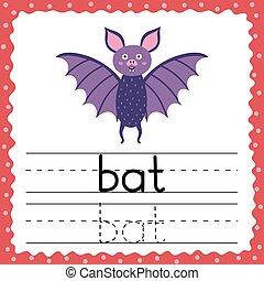 pratica, parola, lampo, kids., scheda, lettera, parole, scrittura, flashcard, bat., semplice, tre, tracciato, -