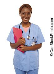 praticien, docteur, assister, femme, prêt, personne agee