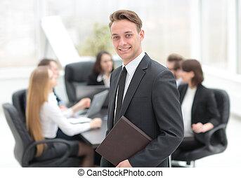 praticien, fond, equipe affaires