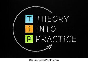 pratique, concept, pointe, théorie