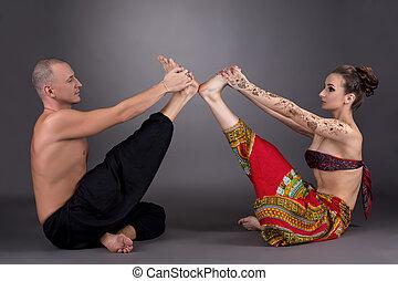 pratique, gris, fond, image, pair., yoga