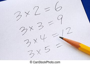 pratique, table, multiplication