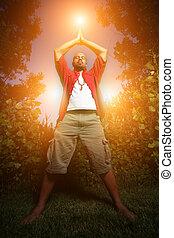 pratiquer, américain africain, dehors, homme yoga
