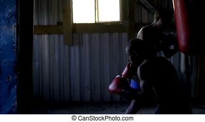 pratiquer, boxeurs, mâle, boxe, 4k, fitness, studio