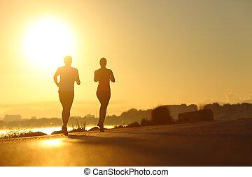 pratiquer, couple, courant, coucher soleil, sport, route