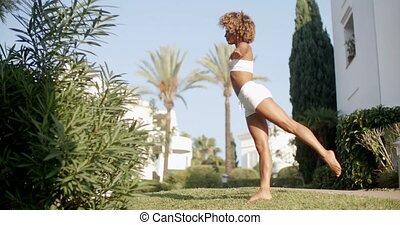 pratiquer, dehors, femme, yoga, nature