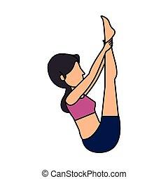 pratiquer, femme, position yoga