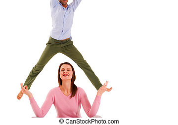 pratiquer, femme, yoga, ju8mping, homme
