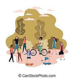 pratiquer, gens, caractère, parc, sports, avatar, groupe