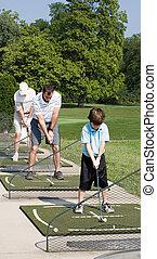 pratiquer, golf, famille