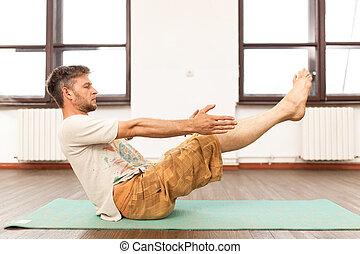 pratiquer, homme yoga