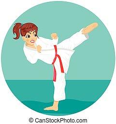 pratiquer, jeune, karaté, kimono, adolescent, ceinture, girl, coup de pied, exercice, rouges