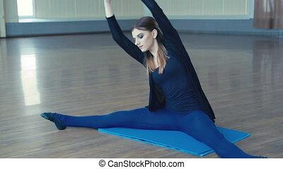 pratiquer, positions, studio, 4k, gracieux, girl