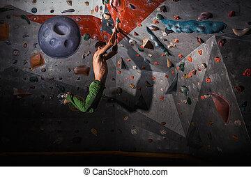 pratiquer, varappe, mur, intérieur, rocher, homme