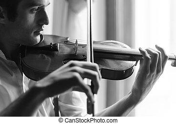 pratiquer, violin., violon, portrait, blanc, homme, jouer, noir