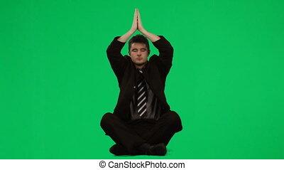 pratiquer, yoga, homme affaires