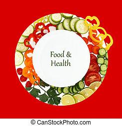 prato, ao redor, legumes, aquilo, cortado, vazio